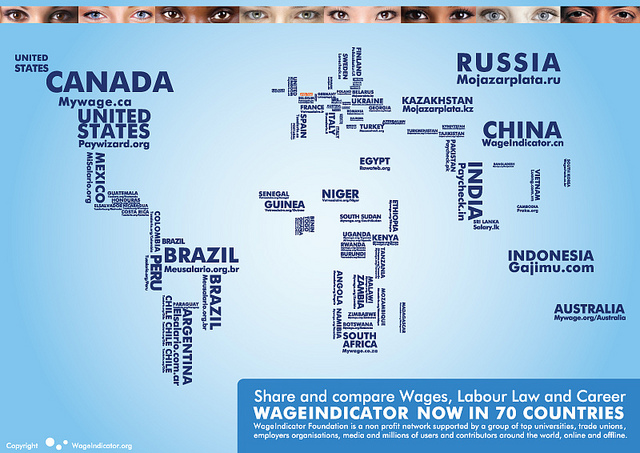 worldmap WageIndicator Foundation - april 2013